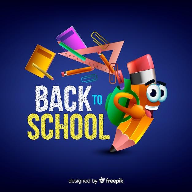 Retour réaliste à l'école Vecteur gratuit
