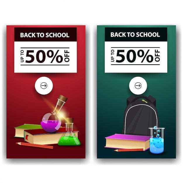 Retour à la vente d'école, deux bannières à prix réduits Vecteur Premium