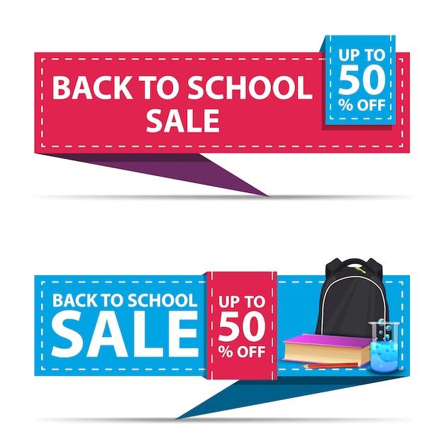 Retour à la vente de l'école, deux bannières de remise horizontale sous la forme d'un ruban avec sac à dos scolaire Vecteur Premium