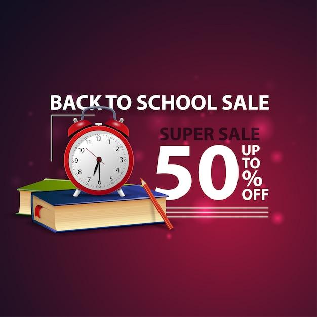 Retour à la vente des écoles, bannière web 3d créative moderne avec livres scolaires et réveil Vecteur Premium