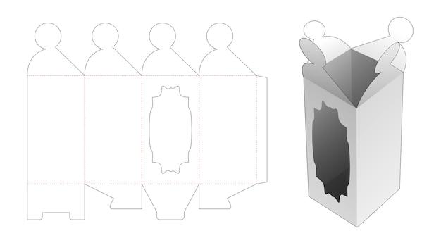 Retourner La Grande Boîte Avec Un Gabarit De Découpe De Fenêtre Vecteur Premium