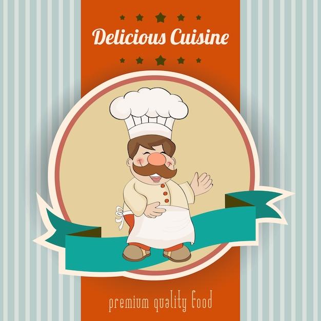 Rétro affiche avec chef et délicieux message gastronomique Vecteur gratuit