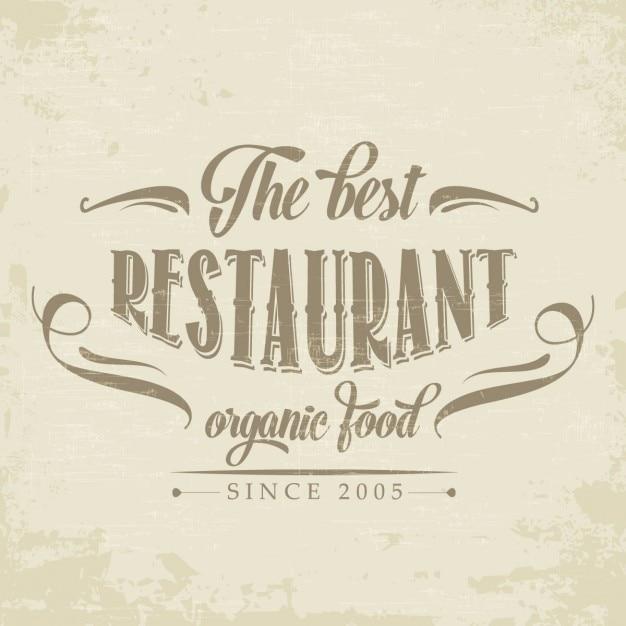 Rétro Affiche De Restaurant D'aliments Biologiques Vecteur gratuit