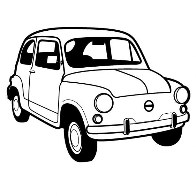 Rétro automobile italien fiat 600 Vecteur gratuit