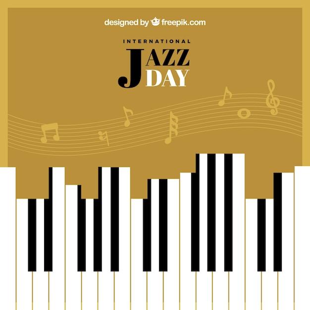Retro background journée de jazz avec des touches de piano et pentagramme Vecteur gratuit