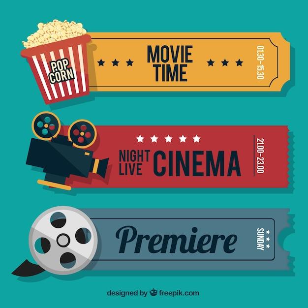 Retro billets de ciné avec des éléments audiovisuels et du pop-corn Vecteur Premium
