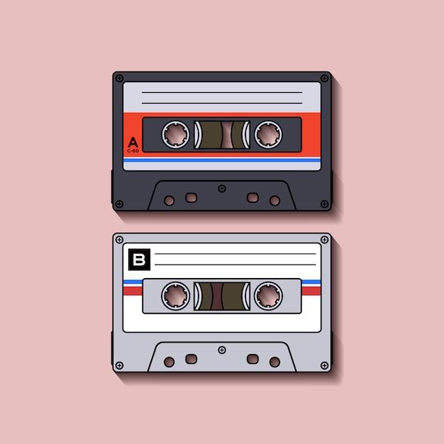 Rétro Casette Cassette Design Plat | Vecteur Premium