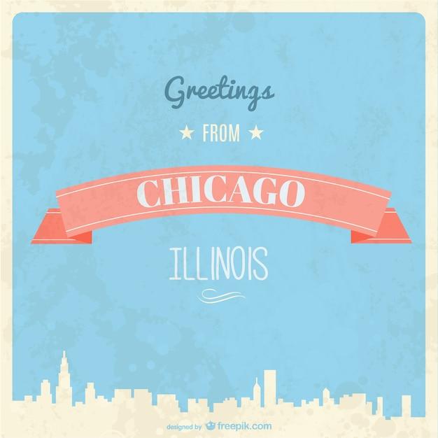 Rétro chicago carte de voeux Vecteur gratuit