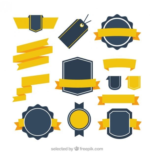 Rétro collection de badges avec des rubans jaunes Vecteur gratuit