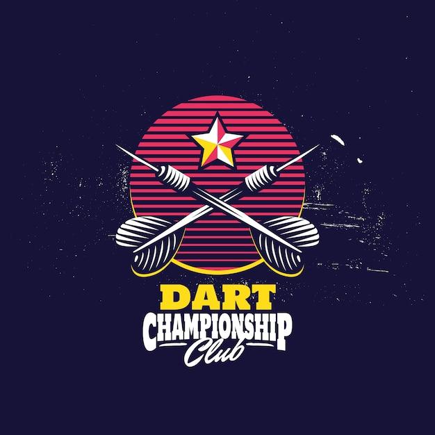 Retro darts badge logo Vecteur Premium