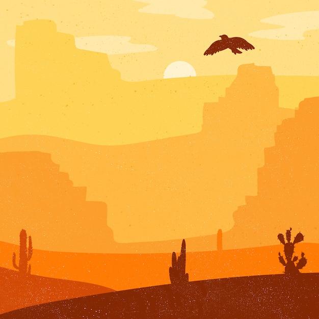 Rétro désert ouest sauvage Vecteur Premium