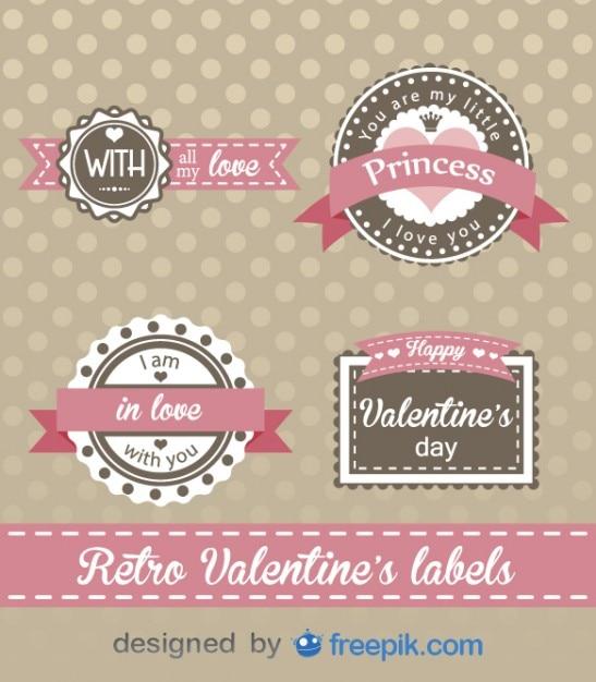 Rétro du jour de valentine conception des étiquettes Vecteur gratuit