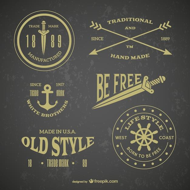 Rétro emblème tatouages Vecteur gratuit