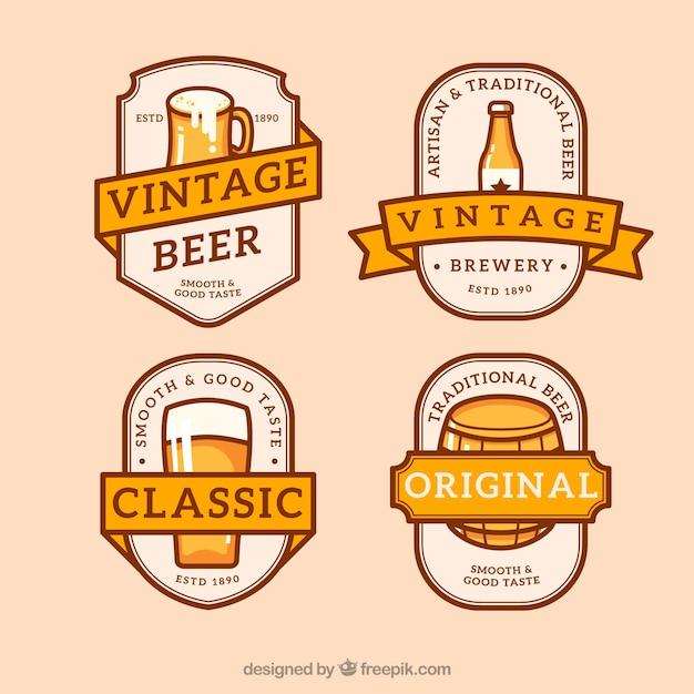 Rétro ensemble de la bière sous marque Vecteur gratuit