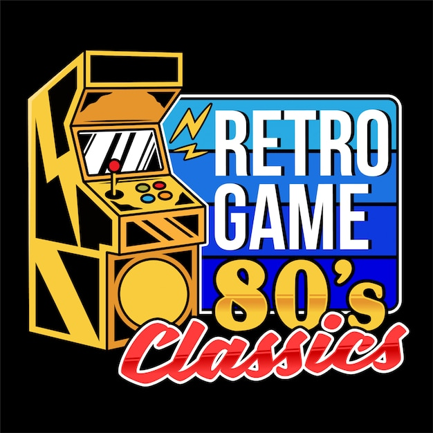 Retro Game Classics Old Game Machine For Play Retro Arcade Video Game For Gamers And Geek Culture People Vintage Gamepad. Illustration De Conception D'impression Rétro Pour Les Vêtements De T-shirt Vecteur Premium