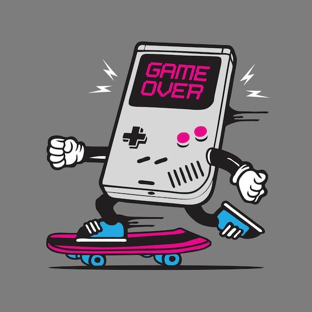 Rétro Gamer Skate Skateboard Character Design Vecteur Premium
