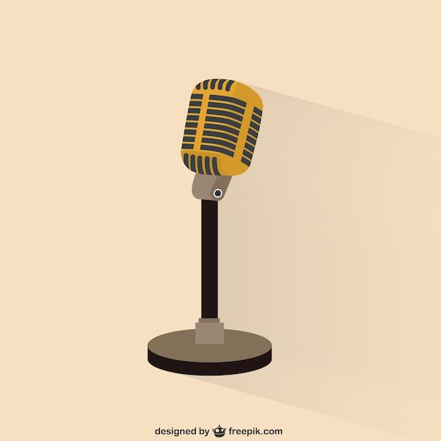 Retro Microphone Illustration Vecteur gratuit