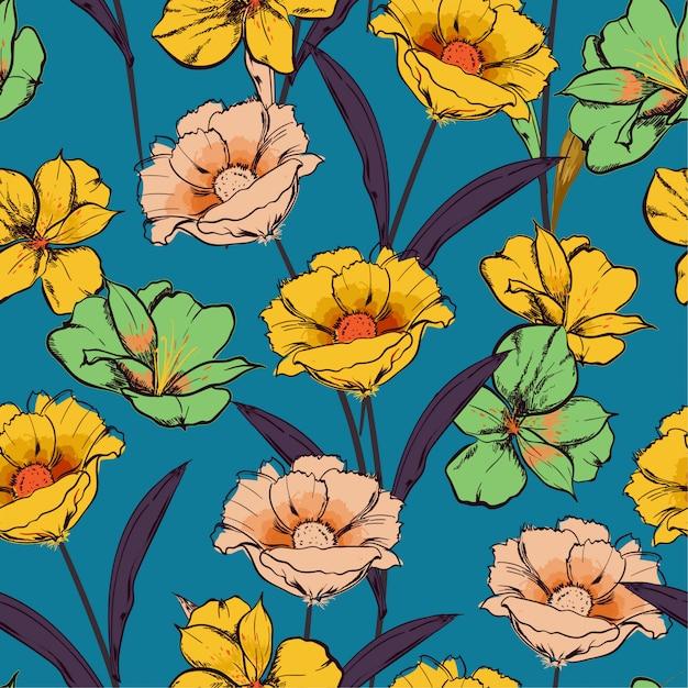Rétro modèle sans couture croquis dessinés à la main fleurs épanouies Vecteur Premium