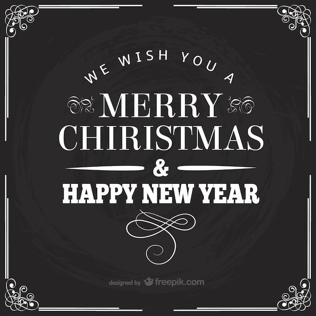 Rétro Noir Et Blanc Carte De Noël | Vecteur Gratuite