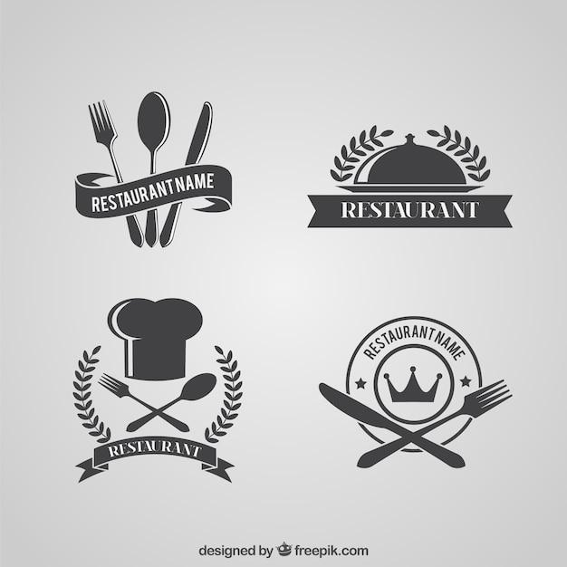 Retro Pack De Restaurant Pour Les Logos Vecteur Premium