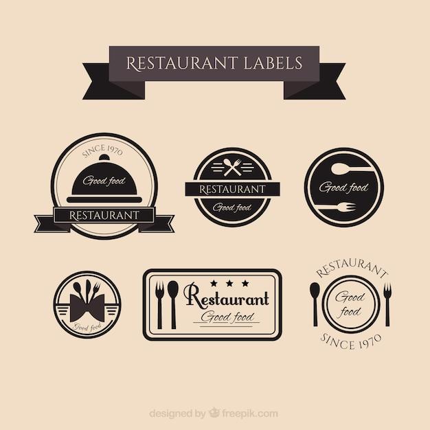 Retro Restaurant étiquettes Collection Vecteur gratuit