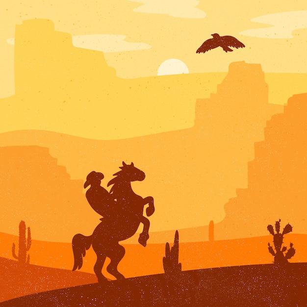 Rétro sauvage héros ouest sur cheval au galop dans le désert Vecteur Premium