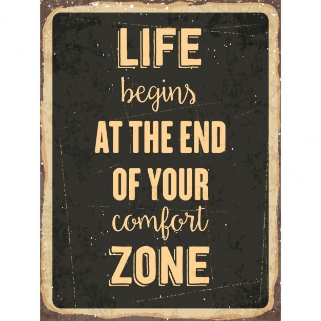 Rétro signe de métal la vie commence à la fin de votre zone de confort Vecteur gratuit