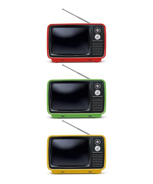 Retro Tv, Téléviseur Vintage Isolé Sur Blanc. Illustration Réaliste Vecteur Premium