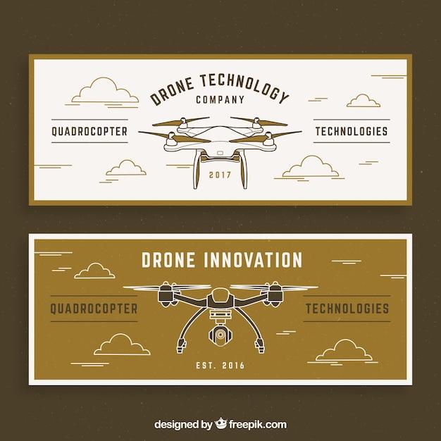 Rétros Bannières Avec Drones Vecteur gratuit