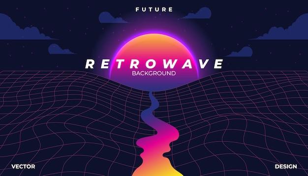 Retrowave Cyber Néon Fond Paysage Des Années 80 Stylé. Vecteur Premium
