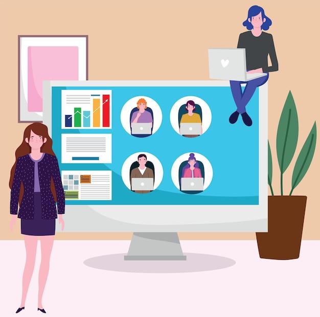 Réunion D'appel Vidéo Femme D'affaires Au Bureau à L'aide D'un Ordinateur, Personnes Travaillant Illustration Vecteur Premium