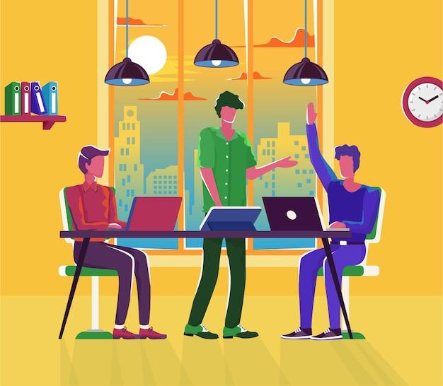 Réunion D'entreprise Avec Des Personnages De Dessins Animés D'employés Discutant De L'illustration De La Stratégie D'entreprise Vecteur Premium