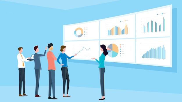 Réunion de l'équipe analytique d'entreprise et concept de formation de projet de finance Vecteur Premium