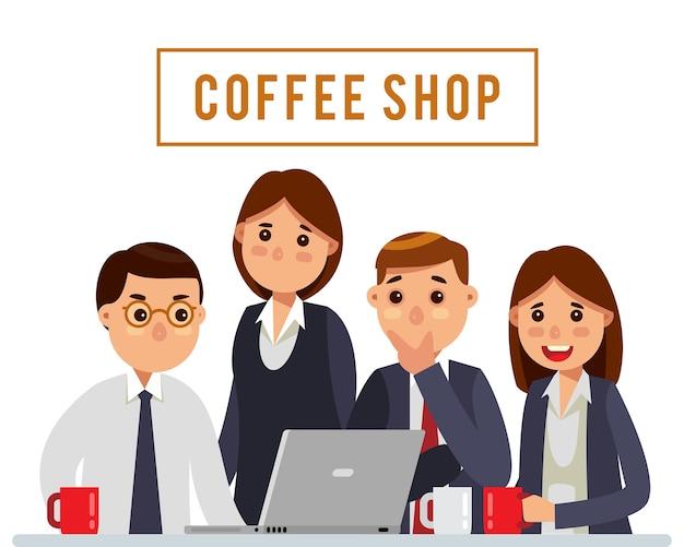 Réunion de l'équipe de bussiness au café Vecteur Premium
