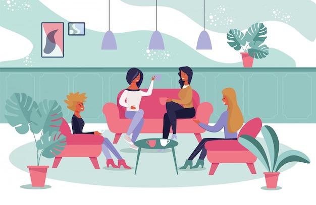 Réunion informelle des femmes pour un rafraîchissement et une discussion Vecteur Premium