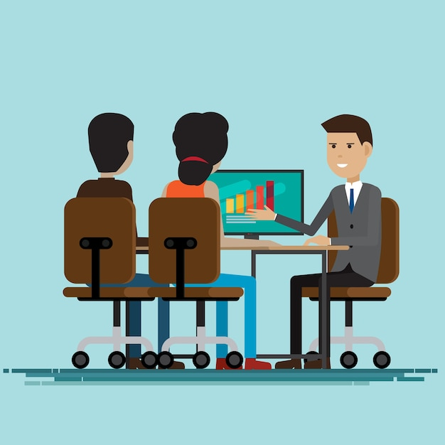 Réunion de travail entre entreprises et négociations Vecteur Premium