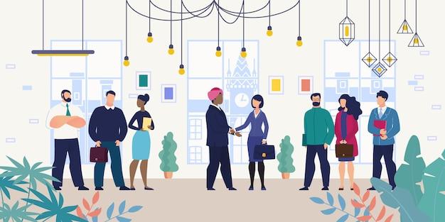 Réunion de travail pour des négociations avec un partenaire étranger Vecteur Premium
