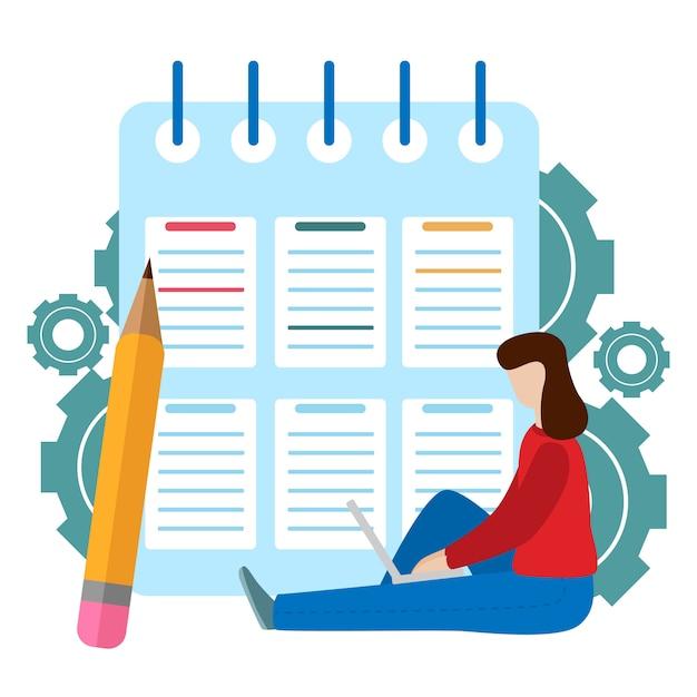 Réussite des tâches de l'entreprise. presse-papiers de liste de contrôle. questionnaire Vecteur Premium