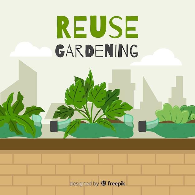 Réutiliser Le Jardinage En Ville Vecteur gratuit
