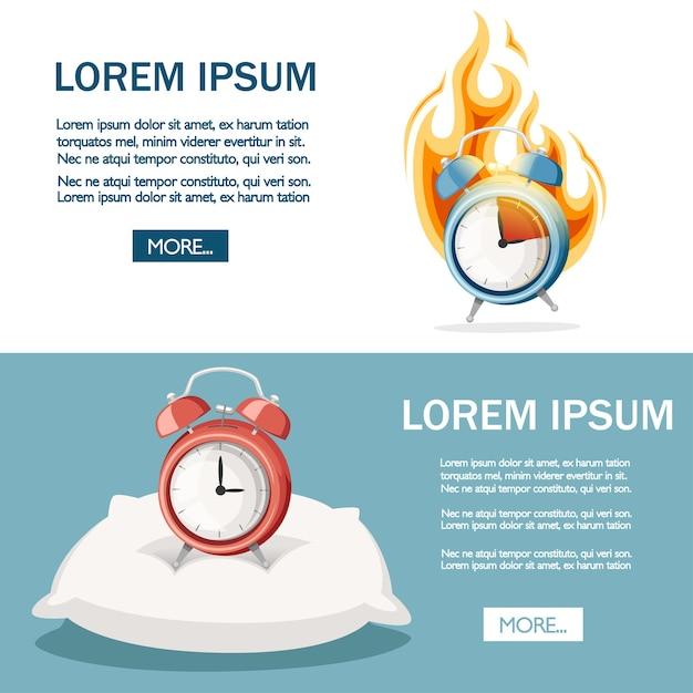 Réveil Bleu Dans Un Incendie. Horloge Brûlante. Concept De Date Limite. Vecteur Premium