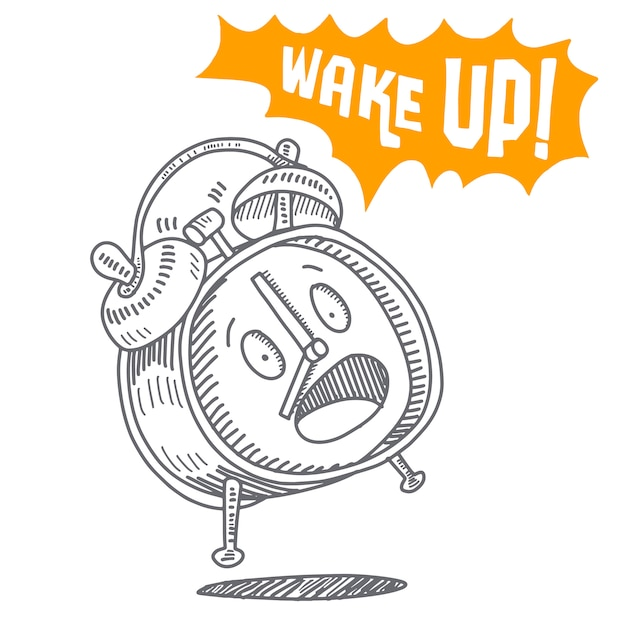 Réveil dessiné à la main isolé sur fond blanc Vecteur Premium