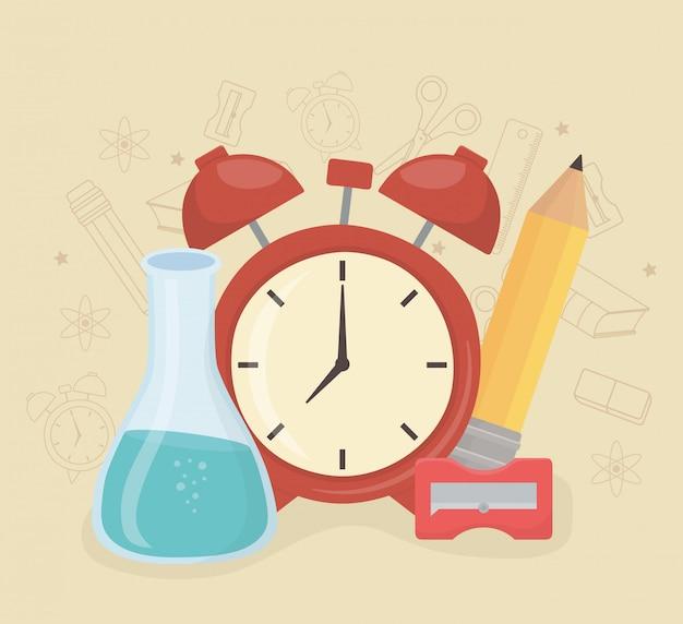 Réveil et fournitures à l'école Vecteur gratuit