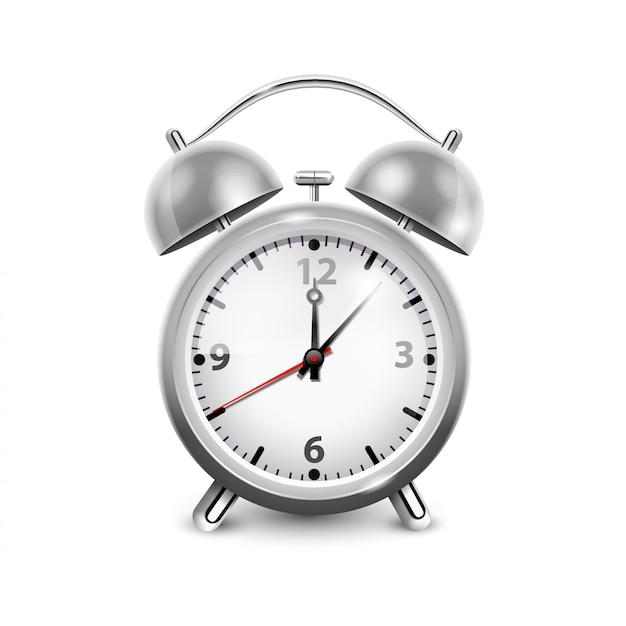 Réveil rétro dans un boîtier métallique avec deux cloches isolées sur illustration vectorielle réaliste fond blanc Vecteur Premium