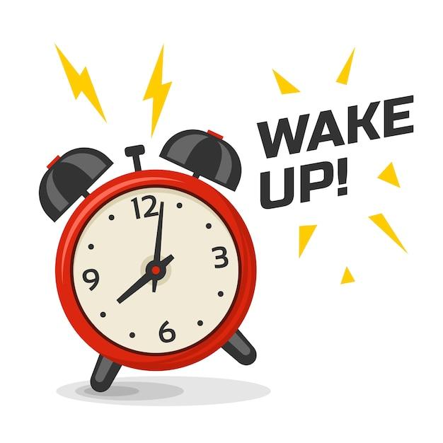 Réveillez-vous Avec L'illustration De Deux Cloches. Dessin Animé Image Dinamic Isolé, Réveil Du Matin De Couleur Rouge Et Jaune Vecteur Premium