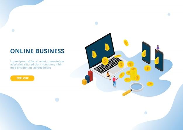Revenu ou bénéfice d'entreprise en ligne avec style isométrique Vecteur Premium