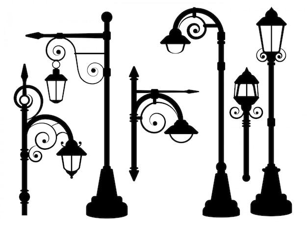 Réverbères de la rue lampadaire Vecteur Premium
