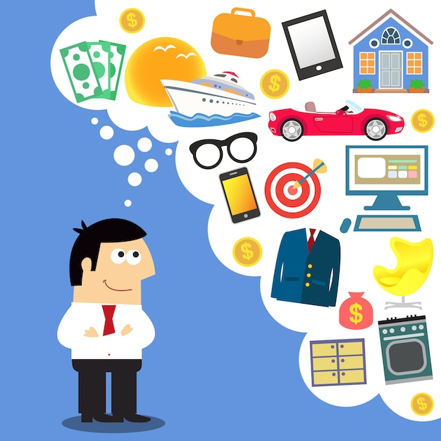 Rêves d'entreprise, planification future Vecteur gratuit