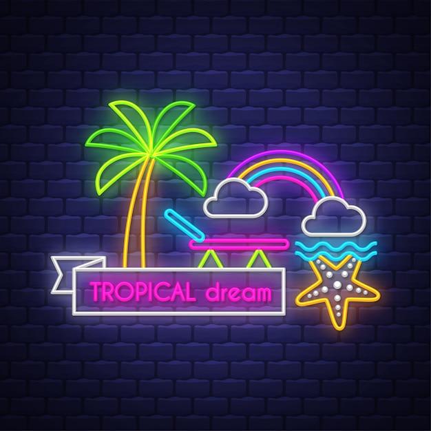 Rêves tropicaux. inscription au néon Vecteur Premium