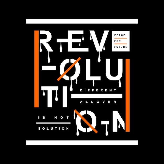 Révolution typographie t shirt design Vecteur Premium