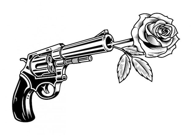 Revolver Avec Rose Vecteur gratuit